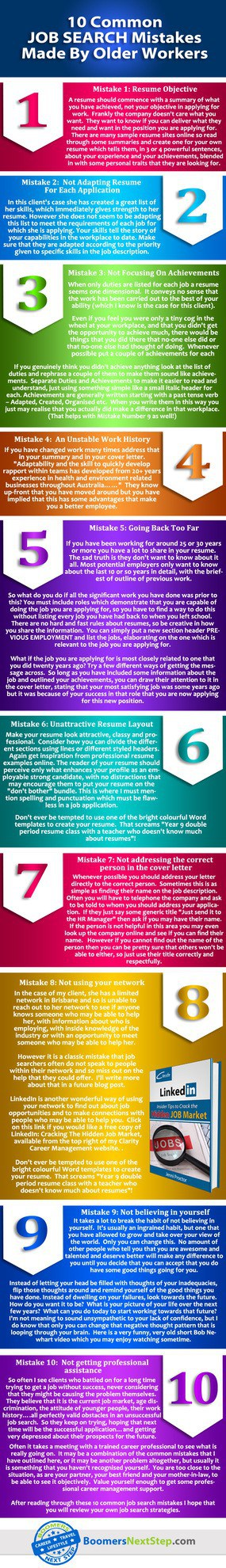 Infographic - 10 common mistakes made by older workers