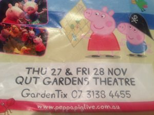 Advertisement for Peppa Pig concert in Brisbane