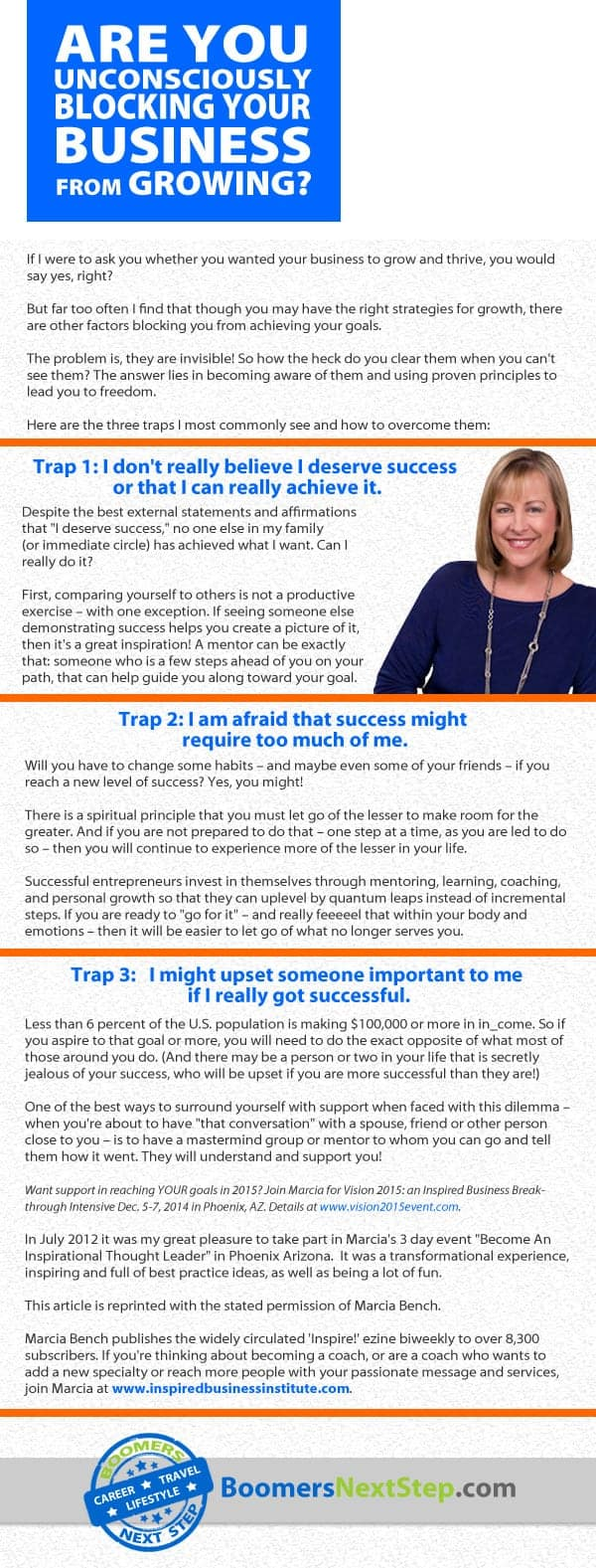 Infographic of an article by Marcia Bench