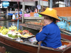 Thai floating market vendor