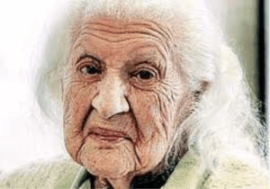 face of a lady living to 100
