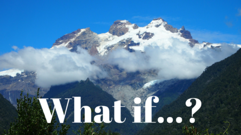 What if...? text with image of mountains