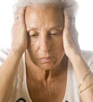 Older woman looking depressed