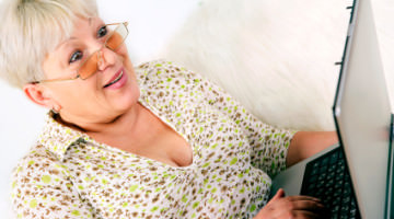 Older woman blogging